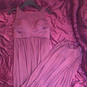David's Bridal Long Mesh Dress Style: F15927
